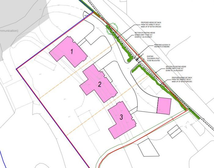 block view of 3 proposed homes at Windmill Farm in Silver Hill