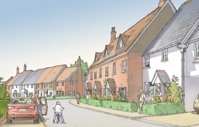 Perspective Sketch of Foundry Close development